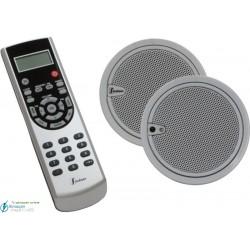 Estéreo 2.5''  (altavoces y mando IR color acero)