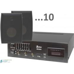 300m2 5w (amplificador 55w y 10 bafles negros)