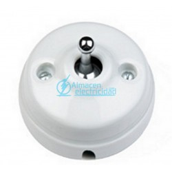PULSADOR ROCKING 10A-250V DIMBLER COLLECTION PORCELANA BLANCA-MANECILLA CROMADA CON PASO DE CABLES