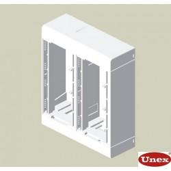 Caja 4 mecanismos blanco Unex en pvc