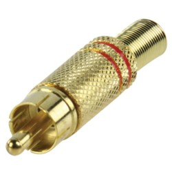 GOLD PLATED PHONO PLUG WITH CABLE PROTECTOR RED
