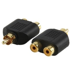 ADAPTER PLUG PHONO PLUG TO 2 PHONO SOCKETS (GOLD)