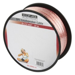 OFC LOUDSPEAKER CABLE 2X 2.5 MM² ON REEL 15 M TRANSPARENT