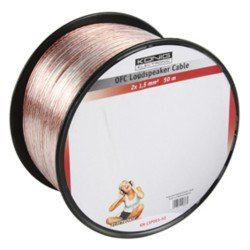 OFC LOUDSPEAKER CABLE 2X 1.5  MM² ON REEL 50 M TRANSPARENT