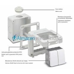 Toma con TTL (16A-250V.) Blanca para caja de superfice IP40/IP55