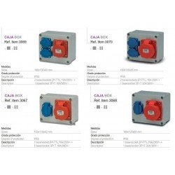 100x100   Libre de halógenos  (650š), con  1 base 2P,TT lateral,10-16A 220V