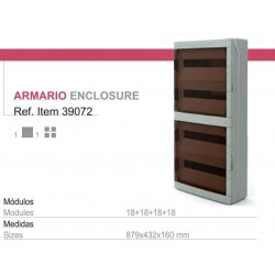 Armario electrico para automaticos 3x18 modulos superficie con puerta transparente 640x430x160 IP65 ESTANCO