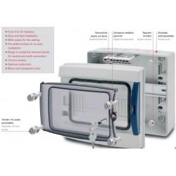 Armario electrico para automaticos 1x4 modulos superficie precintable puerta opaca 215x145x110 IP65 ESTANCO