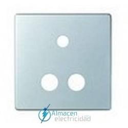 Placa conector mini-jack + 2RCA simon serie 82 Detail color Aluminio frio detail 82
