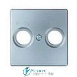 Placa toma R-TV+SAT simon serie 82 Detail color Aluminio frio detail 82