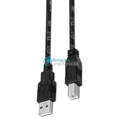 Cable USB 2.0 para impresora tipo A macho-B macho en color negro de 3 metros de largo
