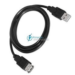 Cable USB 2.0 tipo A macho-A hembra en color negro de 1,8 metros de largo