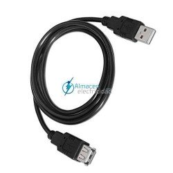 Cable USB 2.0 tipo A macho-A hembra en color negro de 3 metros de largo