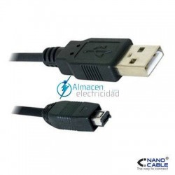 Cable USB 2.0 tipo A macho-Mini USB 4PIN HIROSE Macho de 2 metros de largo