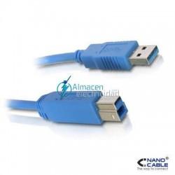 Cable USB 3.0 PARA IMPRESORA tipo A Macho-B Macho de 1 metro de largo en azul