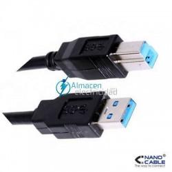 Cable USB 3.0 PARA IMPRESORA tipo A Macho-B Macho de 2 metros de largo en negro