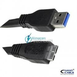 Cable USB 3.0 tipo A Macho-MICRO B Macho de 2 metros de largo en negro