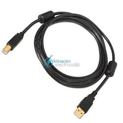 Cable USB 2.0 PARA IMPRESORA DE ALTA CALIDAD CON FERRITA tipo A Macho-B Macho de 4 metros de largo en negro