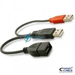 Cable USB 2.0 con alimentación tipo A Macho + A de alimentacion Macho-A Hembra de 15 cm de largo