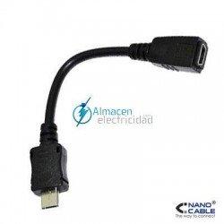 Cable USB 2.0 mini usb 5 pin Hembra-micro B Macho de 10 cm de largo