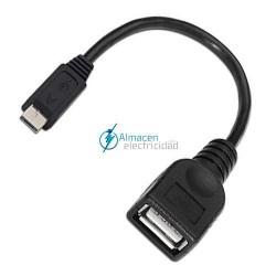 Cable USB 2.0 con OTG TIPO Micro A Macho-A HEMBRA de 15 cm de largo NEGRO