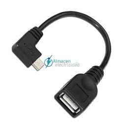 Cable USB 2.0 con OTG ACODADO TIPO Micro A Macho-A HEMBRA de 15 cm de largo NEGRO