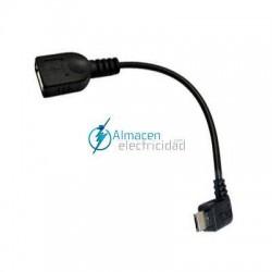Cable USB 2.0 con OTG ACODADO TIPO Micro B Macho-A HEMBRA de 15 cm de largo NEGRO