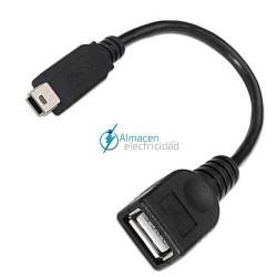 Cable USB 2.0 con OTG TIPO mini B Macho-A HEMBRA de 15 cm de largo NEGRO
