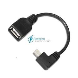 Cable USB 2.0 con OTG ACODADO TIPO mini B Macho-A HEMBRA de 15 cm de largo NEGRO