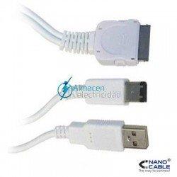 CABLE IPOD A USB 2.0 TIPO A/MACHO+FIREWIRE MACHO (1394A)DE 2 METROS