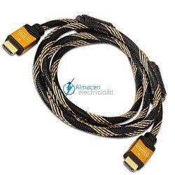 CABLE HDMI V1.4 CON FERRITA Y CONEXIONES DE ORO MACHO-MACHO DE 3 METROS