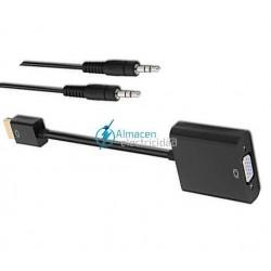 CONVERSOR HDMI A SVGA+AUDIO MACHO-HEMBRA NEGRO DE 10 CM+1 METRO