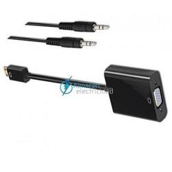 CONVERSOR MINI HDMI A SVGA+AUDIO MACHO-HEMBRA NEGRO 10CM+1 METRO