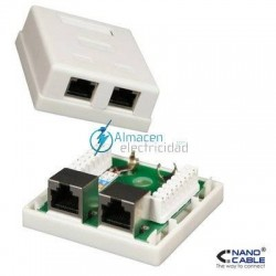 ROSETA SUPERFICIE RJ45 2 TOMA CAT.5E FTP BLANCO