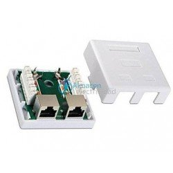 ROSETA SUPERFICIE RJ45 2 TOMA CAT.6 FTP BLANCO