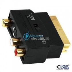 ADAPTADOR EUROCONECTOR A RCA SCART MACHO-3xRCA HEMBRA CON SWITCH