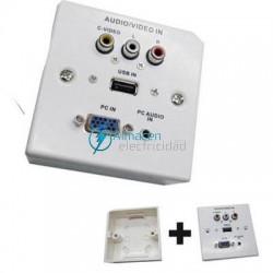 PLACA DE PARED PARA SUPERFICIE CON CONECTOR VGA, JACK3.5, USB2.0 Y 3xRCA CON CAJA EN BLANCO