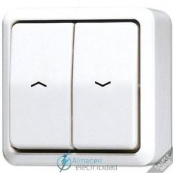 Interruptor-pulsador de persianas 10AX-250V de JUNG 639 VA en color blanco marfil