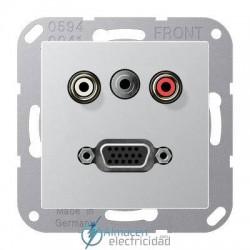 Cinch Audio (RCA) - Jack3,5mm - VGA JUNG MA A 1072 AL en acabado aluminio