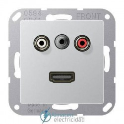 Cinch Audio (RCA) - Jack3,5mm - HDMI JUNG MA A 1082 AL en acabado aluminio