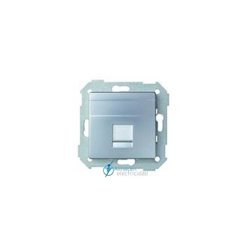 Placa voz y datos plana 1 RJ-45 simon serie 82 Aluminio mate