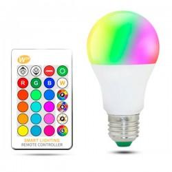 BOMBILLA LED RGBW CON MANDO A60 E27 10W