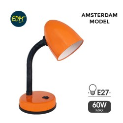 FLEXO LAMPARA NARANJA DE MESA 60W E27 MODELO AMSTERDAM