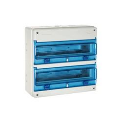Armario electrico para automaticos 2x18 modulos superficie con puerta transparente IP65 ESTANCO