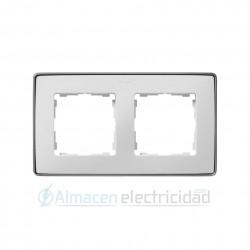 MARCO 2 MODULOS BLANCO base aluminio simon serie Detail 82