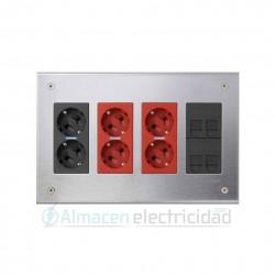 MAYOR OFERTA KIT CAJA DE EMPOTRAR METÁLICA SAI 4 MÓDULOS 2 CONECTORES RJ-45