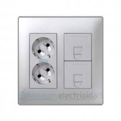 MEJOR OFERTA 1 BASE DOBLE ELÉCTRICA Y 2 PLACAS DE VOZ Y DATOS 1 CONECTOR RJ-45 2 MÓDULOS