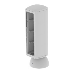 Torreta color gris para 4 mecanismos electricos Unex 80 en pvc