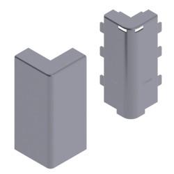 Angulo exterior color aluminio para zocalo de suelo Unex 16x100 en pvc