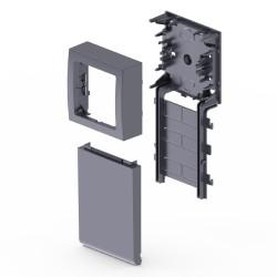 Adaptador 1 mecanismos Simón 73 Loft color aluminio para zocalo de suelo Unex en pvc